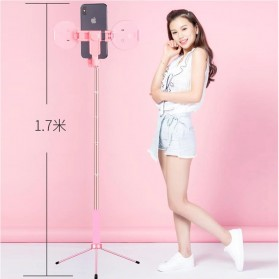 BePotofone Holder Smartphone Tripod Selfie Stick Live 1.7M with LED Ring Light & Remote Control - YLSK - Pink - 6