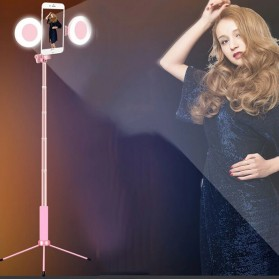 BePotofone Holder Smartphone Tripod Selfie Stick Live 1.7M with LED Ring Light & Remote Control - YLSK - Pink - 7