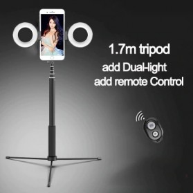 BePotofone Holder Smartphone Tripod Selfie Stick Live 1.7M with LED Ring Light & Remote Control - YLSK - Black