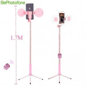 BePotofone Holder Smartphone Tripod Selfie Stick Live 1.7M with LED Ring Light & Remote Control - YLSK - Black - 2
