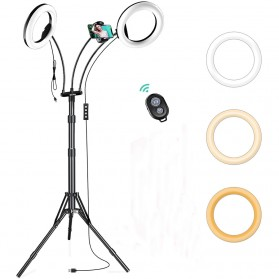 Lykan Tripod Selfie Stick Live Broadcast 1.8M with 2 LED Ring Light 8 Inch + Remote Control + Smartphone Holder - F-534B - Black
