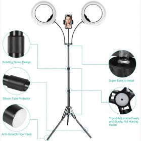 Lykan Tripod Selfie Stick Live Broadcast 1.8M with 2 LED Ring Light 8 Inch + Remote Control + Smartphone Holder - F-534B - Black - 3