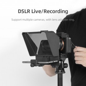 AMBITFUL Mini Teleprompter Portable Inscriber Autocue with Remote & Light Stand- TLM1 - Black - 5
