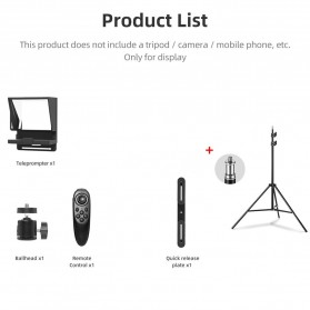 AMBITFUL Mini Teleprompter Portable Inscriber Autocue with Remote & Light Stand- TLM1 - Black - 7