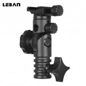 LEBAN Hot Shoe Swivel Lampu Flash Kamera for Studio Tripod Light Stand - L2 - Black