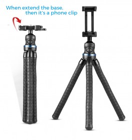 APEXEL Mini Tripod Flexible with 1/4 Universal Smartphone Clip - APL-JJ05 - Black