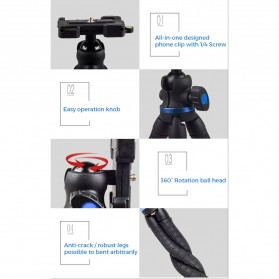 APEXEL Mini Tripod Flexible with 1/4 Universal Smartphone Clip - APL-JJ05 - Black - 6