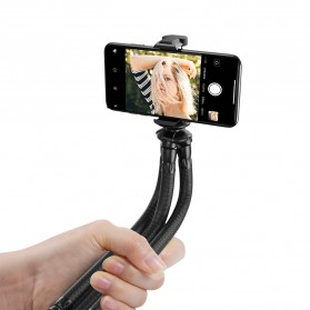 APEXEL Multifunction Mini Tripod Flexible with 1/4 Universal Smartphone Clip DSLR - APL-JJ07 - Black - 2