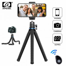 APEXEL Tripod Octopus Flexible with 1/4 Screw Phone Holder - APL-JJ10 - Black