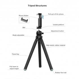 APEXEL Detachable Extendable Flexible Tripod 360 Rotation 1/4 Screw - APL-JJ09 - Black - 2