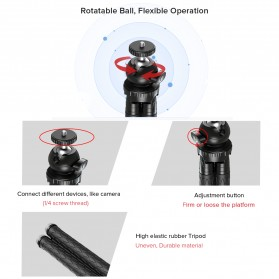 APEXEL Detachable Extendable Flexible Tripod 360 Rotation 1/4 Screw - APL-JJ09 - Black - 4