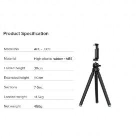 APEXEL Detachable Extendable Flexible Tripod 360 Rotation 1/4 Screw - APL-JJ09 - Black - 6