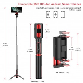 APEXEL Tongsis Gimbal Stabilizer Tripod Smartphone with Remote - APL-D8 - Black - 5