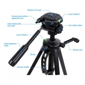 Weifeng Portable Lightweight Tripod Video & Camera - WT-3530 - Black - 3