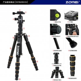 Zomei Profesional Tripod Photo & Video With Ball Head - Q666 - Black - 8