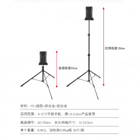 BUBM Portable Stand Tripod Tablet Smartphone 3 Section + Clamp - JY010 - Black - 4