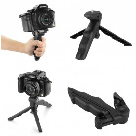 Paket 2 in 1 Portable Mini Folding Tripod for DSLR + Universal Clamp SC-S - Black