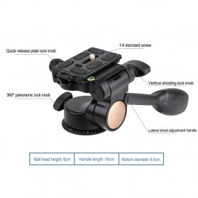Tripod 3-Way Fluid Ball Head Quick Release Plate untuk Kamera DSLR - Q08 - Black - 5