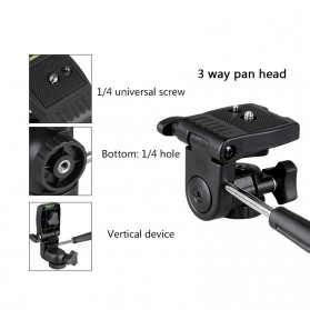 Bexin Tripod Mini 3 Way Portable Aluminium with Ball Head - MS02 - Black - 6