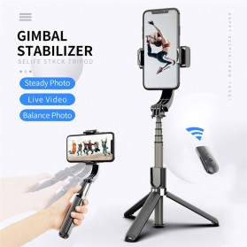Cafele Tongsis Gimbal Stabilizer Selfie Stick Tripod Smartphone Handheld with Remote - L08 - Black - 8