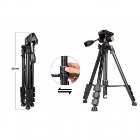 QingZhuangShiDai Professional DSLR Tripod Portable Travel - Q111 - Black - 5