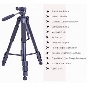 Cambofoto Professional DSLR Tripod + Monopod - SAB264 - Black - 2