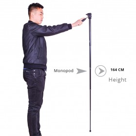 Cambofoto Professional DSLR Tripod + Monopod - SAB264 - Black - 5