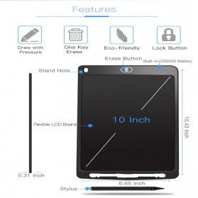 Papan Gambar Digital Monochrome LCD Drawing Graphics Tablet 10 Inch - AS1010A - Black - 9