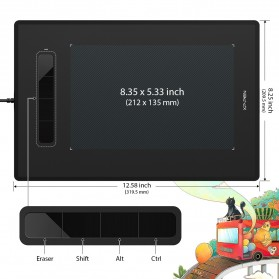XP-Pen Star G960 Graphics Digital Drawing Tablet with Passive Pen - Black - 3