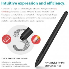 XP-Pen Star G960S Plus Graphics Digital Drawing Tablet with PH2 Passive Pen - Black - 5