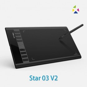 XP-Pen Star 03 V2 Graphics Digital Drawing Tablet with Passive Pen - Black