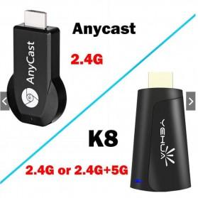 Yehua AnyCast Chromecast Airplay DLNA HDMI Dongle Wifi 4K 5G - K8 - Black - 5