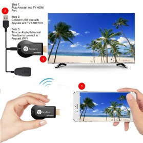 Yehua AnyCast Chromecast Airplay DLNA HDMI Dongle Wifi 1080P - M4 Plus - Black - 8