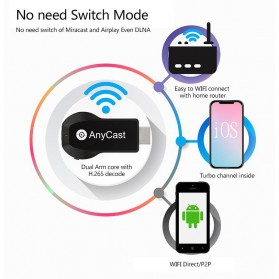AnyCast Chromecast Airplay DLNA HDMI Dongle WiFi Dual Core 4K HD 2.4GHz - M100 - Black - 8
