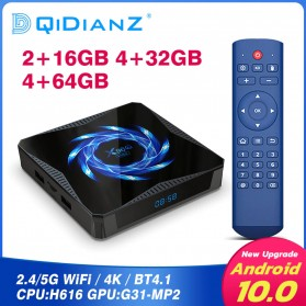 DQiDianZ Mini Smart TV Box 4K HDR Android 10 4GB 32GB - X96Q Max - Black