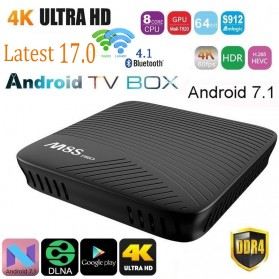 HD Media Player Xtreamer - M8S Pro Smart TV Box 4K Android 7.1 Amlogic S912 2GB 16GB - Black