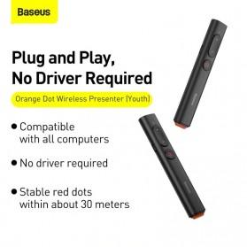 Baseus Remote Laser Presenter Wireless Pointer PPT USB Type C Red Light 2.4Ghz 30 Meter - ACFYB-B01 - Black - 2