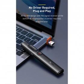 Baseus Remote Laser Presenter Wireless Pointer PPT USB Type C Red Light 2.4Ghz 30 Meter - ACFYB-B01 - Black - 8