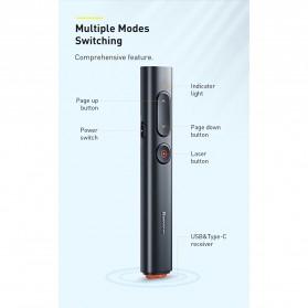 Baseus Remote Laser Presenter Wireless Pointer PPT USB Type C Red Light 2.4Ghz 30 Meter - ACFYB-B01 - Black - 9