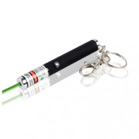 Green Light Laser Pointer Pen with Keychains 4MW - S-PRC-0155C - Black