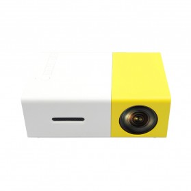 Mini Portable LED Projector Full HD with TF HDMI AV USB Port - YG-300 - White with Yellow Side