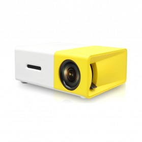 Mini Portable LED Projector Full HD with TF HDMI AV USB Port - YG-300 - White with Yellow Side - 2