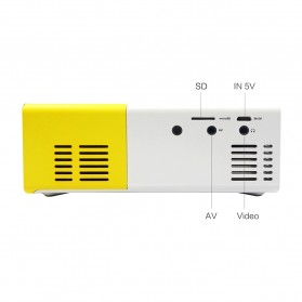 Mini Portable LED Projector Full HD with TF HDMI AV USB Port - YG-300 - White with Yellow Side - 5