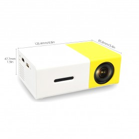 Mini Portable LED Projector Full HD with TF HDMI AV USB Port - YG-300 - White with Yellow Side - 6