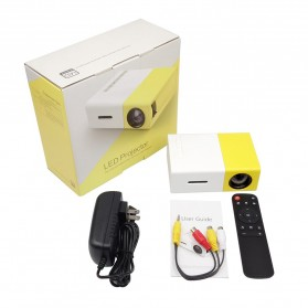 Mini Portable LED Projector Full HD with TF HDMI AV USB Port - YG-300 - White with Yellow Side - 7