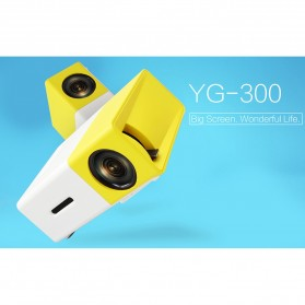Mini Portable LED Projector Full HD with TF HDMI AV USB Port - YG-300 - White with Yellow Side - 8