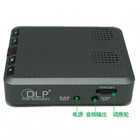 Mini Projector with MicroSD Port 854 x 480px 3000mAh- ML30 - Black - 7