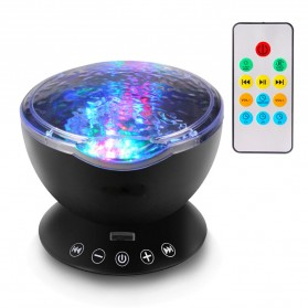 Bluetooth Speaker Proyektor Lampu LED dengan Remote Control - Black