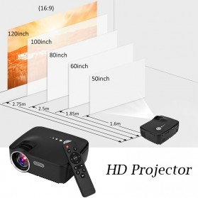 Mini LED Proyektor 1080P 1200 Lumens - GP70 - Black - 7