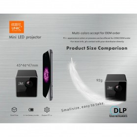 UNIC P1+ WiFi DLP Proyektor Mini 640P 30 Lumens - Black - 8